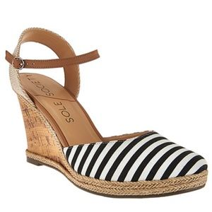 Sole Society Closed Toe Wedges with Ankle Strap